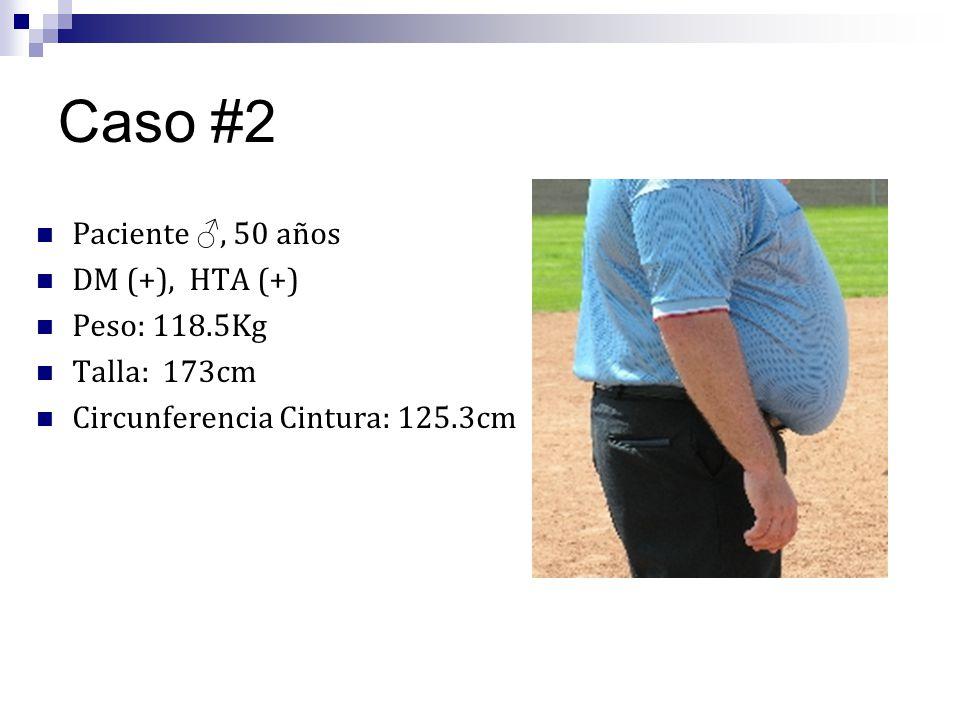 Caso #2 Paciente ♂, 50 años DM (+), HTA (+) Peso: 118.5Kg Talla: 173cm