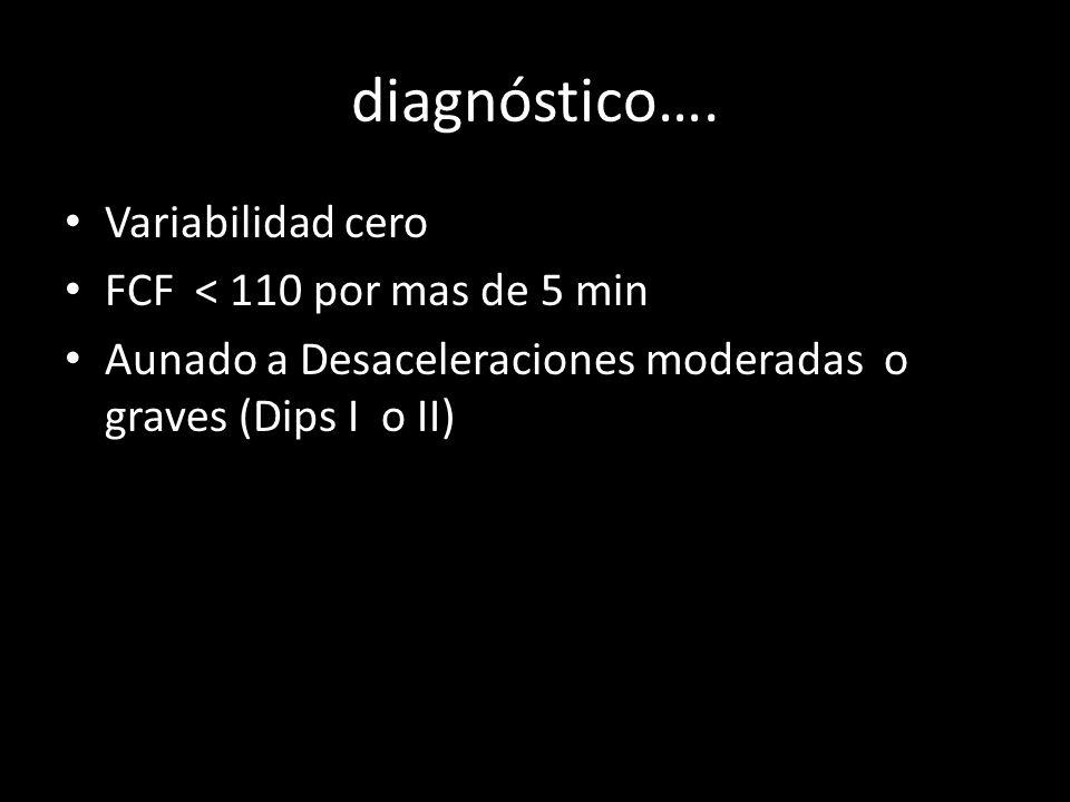 diagnóstico…. Variabilidad cero FCF < 110 por mas de 5 min