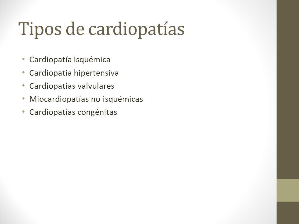 Tipos de cardiopatías Cardiopatía isquémica Cardiopatía hipertensiva