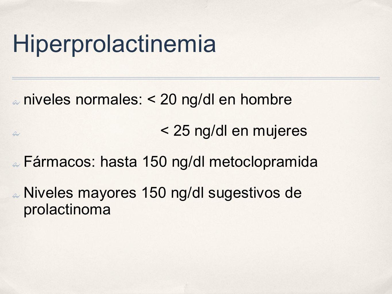 Hiperprolactinemia niveles normales: < 20 ng/dl en hombre