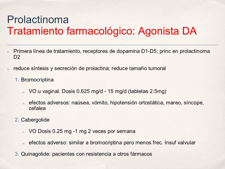 Prolactinoma Tratamiento farmacológico: Agonista DA