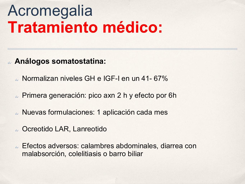 Acromegalia Tratamiento médico:
