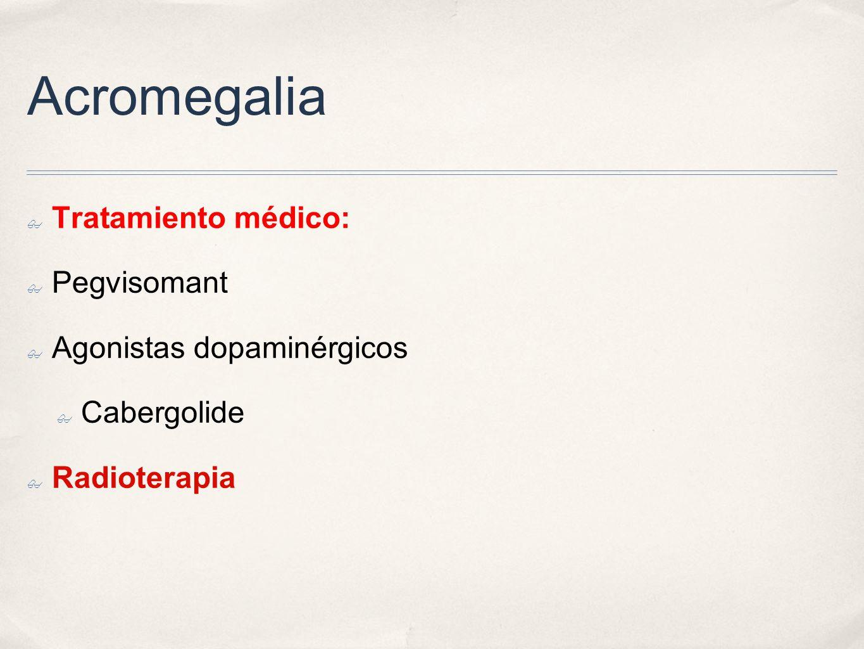 Acromegalia Tratamiento médico: Pegvisomant Agonistas dopaminérgicos