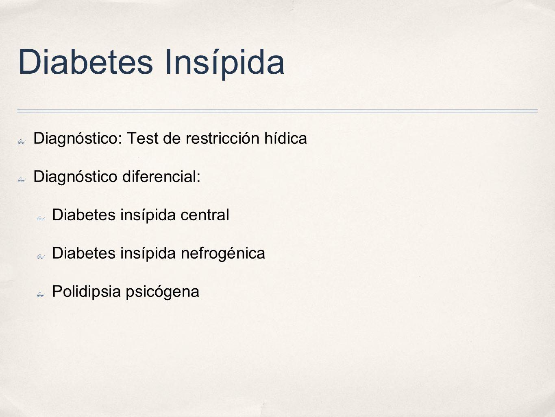 Diabetes Insípida Diagnóstico: Test de restricción hídica