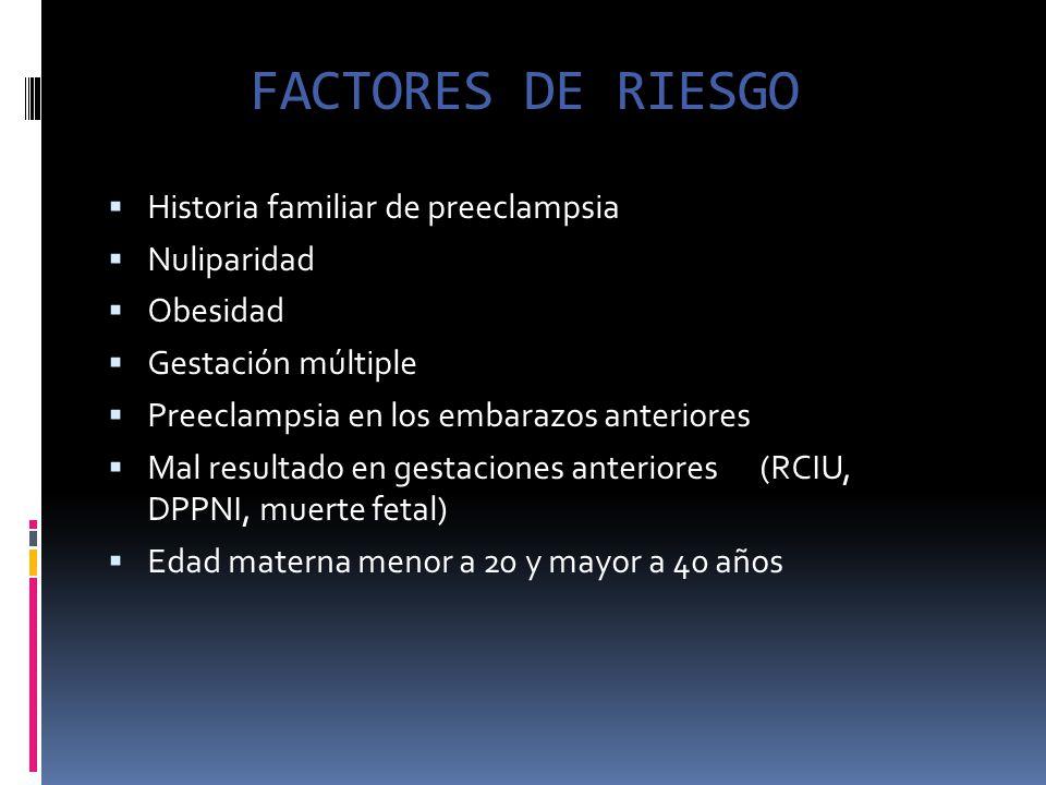 FACTORES DE RIESGO Historia familiar de preeclampsia Nuliparidad