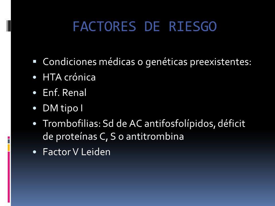 FACTORES DE RIESGO Condiciones médicas o genéticas preexistentes: