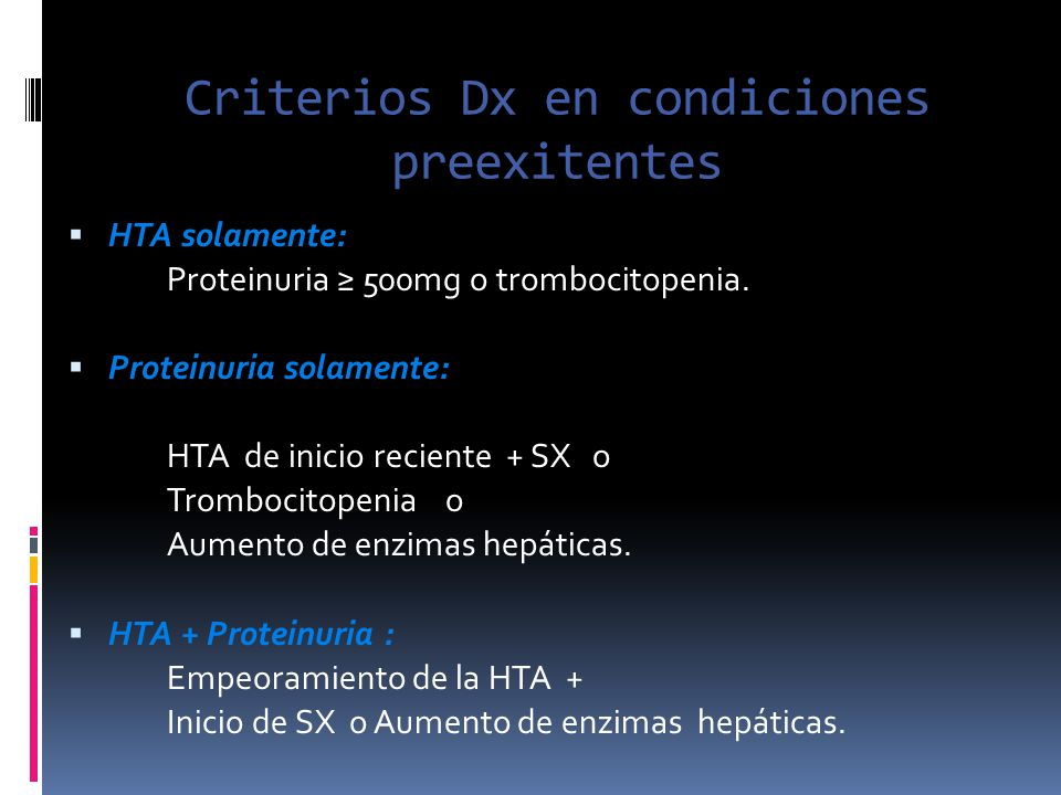 Criterios Dx en condiciones preexitentes