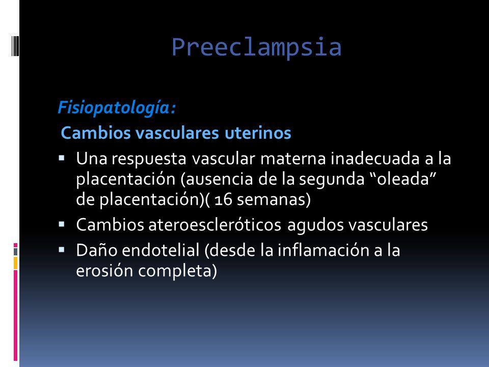 Preeclampsia Fisiopatología: Cambios vasculares uterinos