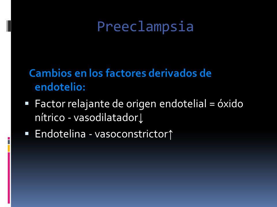 Preeclampsia Cambios en los factores derivados de endotelio: