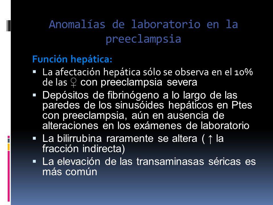Anomalías de laboratorio en la preeclampsia