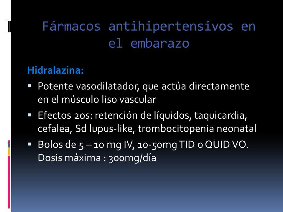 Fármacos antihipertensivos en el embarazo