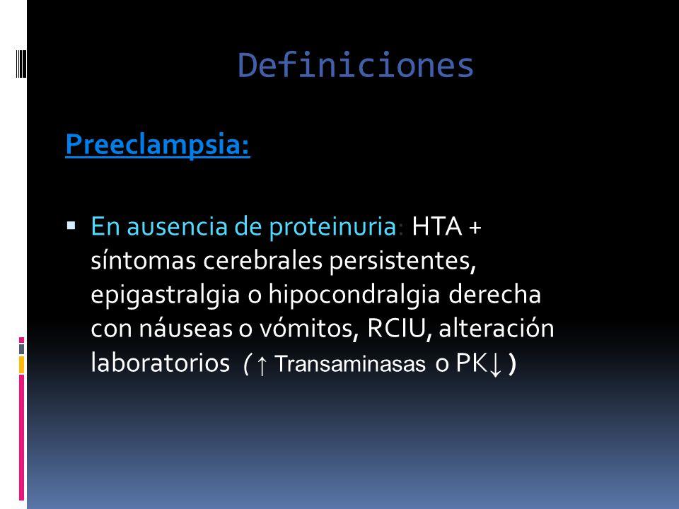 Definiciones Preeclampsia: