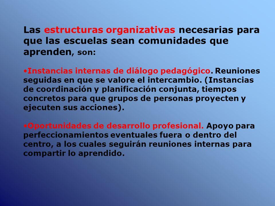 Las estructuras organizativas necesarias para que las escuelas sean comunidades que aprenden, son: