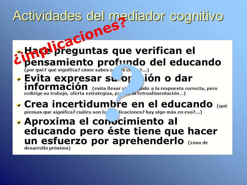 Actividades del mediador cognitivo
