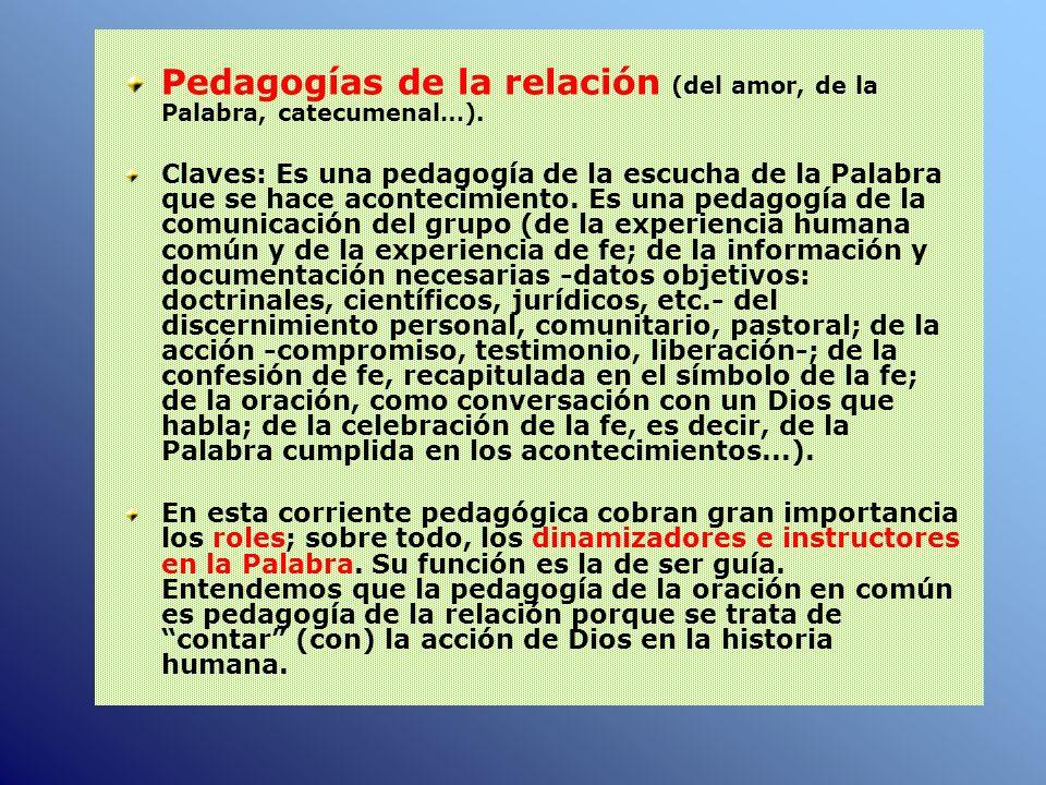 Pedagogías de la relación (del amor, de la Palabra, catecumenal…).