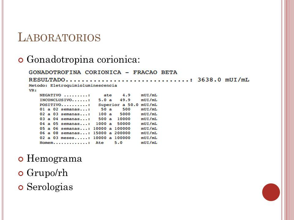 Laboratorios Gonadotropina corionica: Hemograma Grupo/rh Serologias