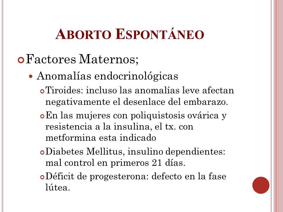 Aborto Espontáneo Factores Maternos; Anomalías endocrinológicas