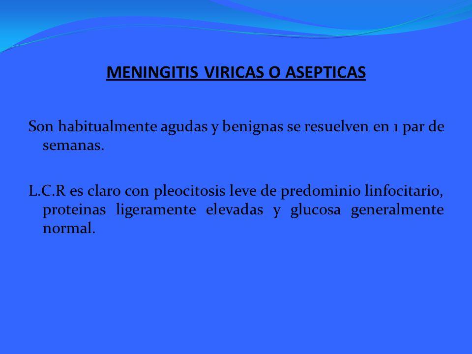 MENINGITIS VIRICAS O ASEPTICAS