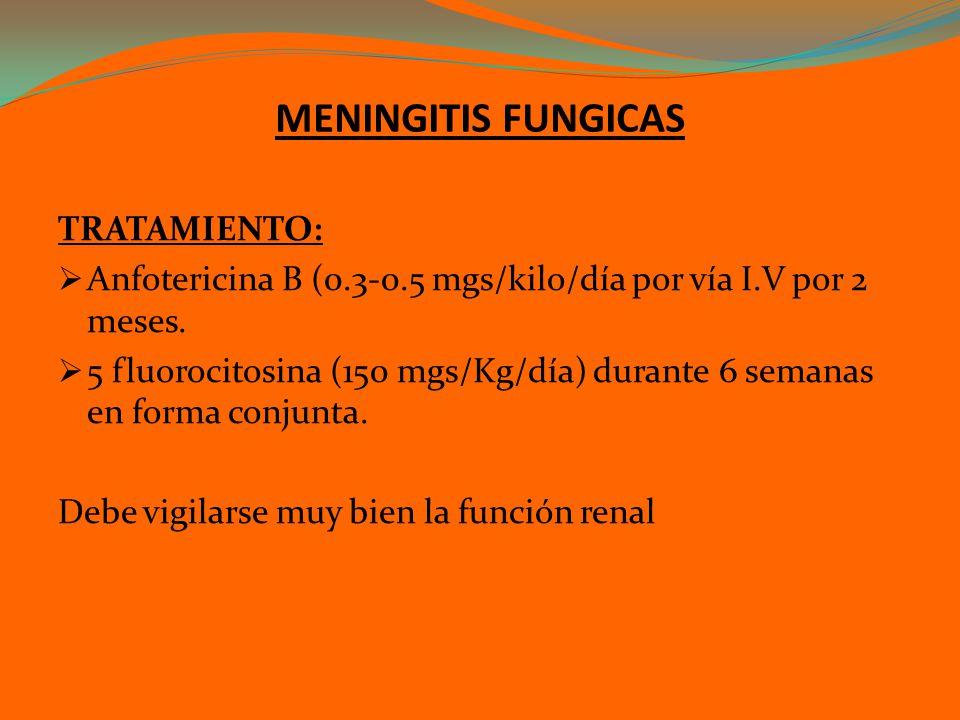MENINGITIS FUNGICAS TRATAMIENTO: