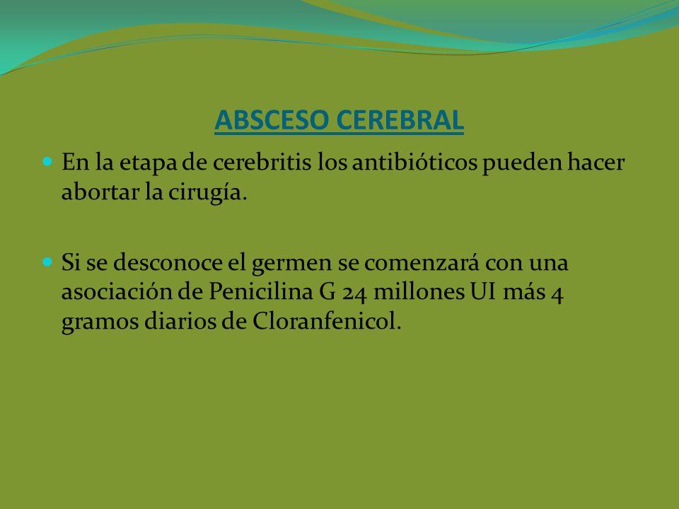 ABSCESO CEREBRAL En la etapa de cerebritis los antibióticos pueden hacer abortar la cirugía.