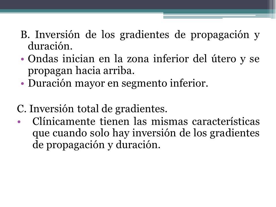 B. Inversión de los gradientes de propagación y duración.