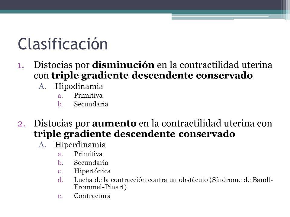 Clasificación Distocias por disminución en la contractilidad uterina con triple gradiente descendente conservado.