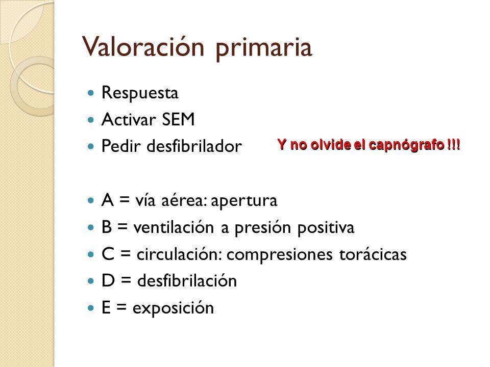 Valoración primaria Respuesta Activar SEM Pedir desfibrilador