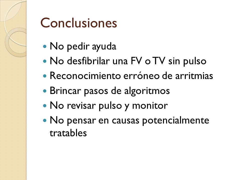 Conclusiones No pedir ayuda No desfibrilar una FV o TV sin pulso