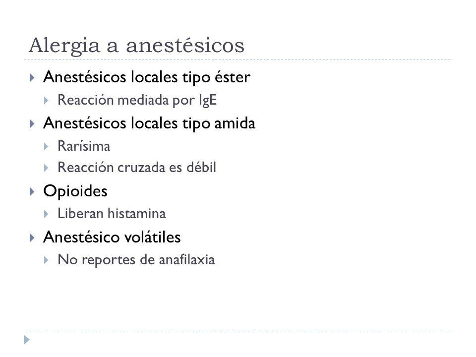 Alergia a anestésicos Anestésicos locales tipo éster