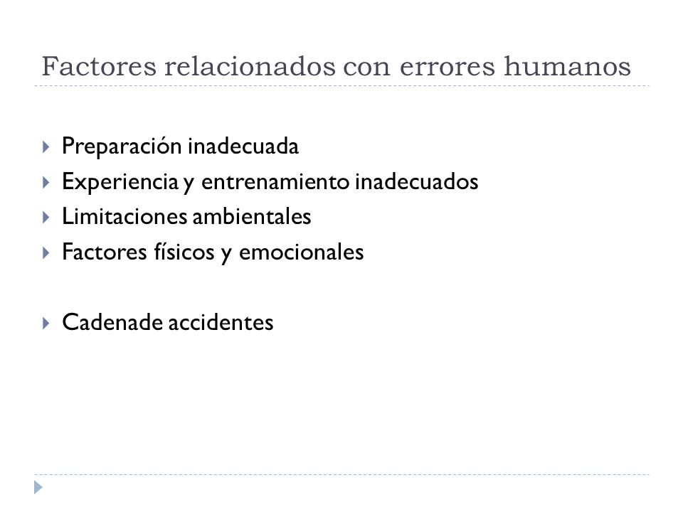 Factores relacionados con errores humanos