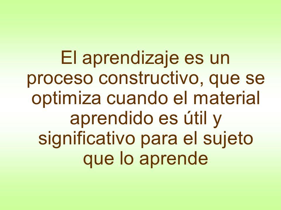 El aprendizaje es un proceso constructivo, que se optimiza cuando el material aprendido es útil y significativo para el sujeto que lo aprende