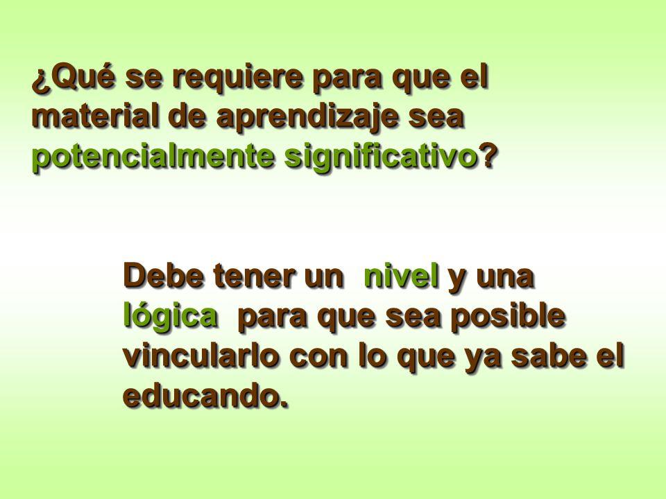 ¿Qué se requiere para que el material de aprendizaje sea potencialmente significativo