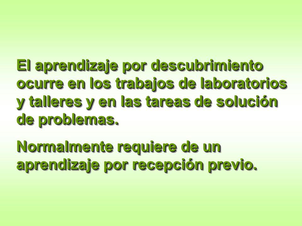El aprendizaje por descubrimiento ocurre en los trabajos de laboratorios y talleres y en las tareas de solución de problemas.