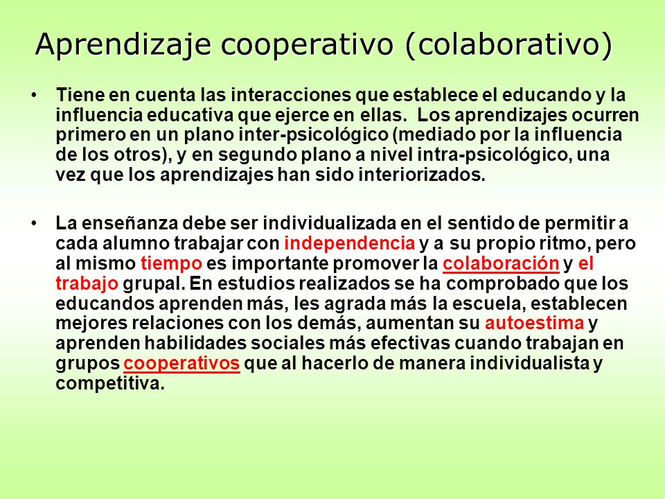 Aprendizaje cooperativo (colaborativo)