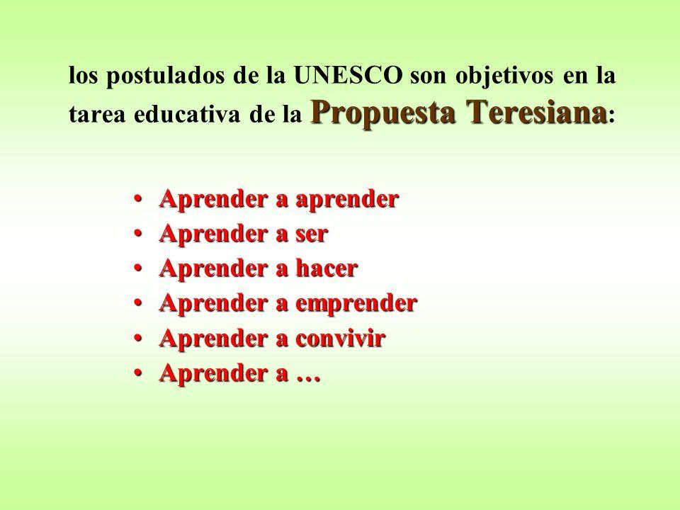 los postulados de la UNESCO son objetivos en la tarea educativa de la Propuesta Teresiana:
