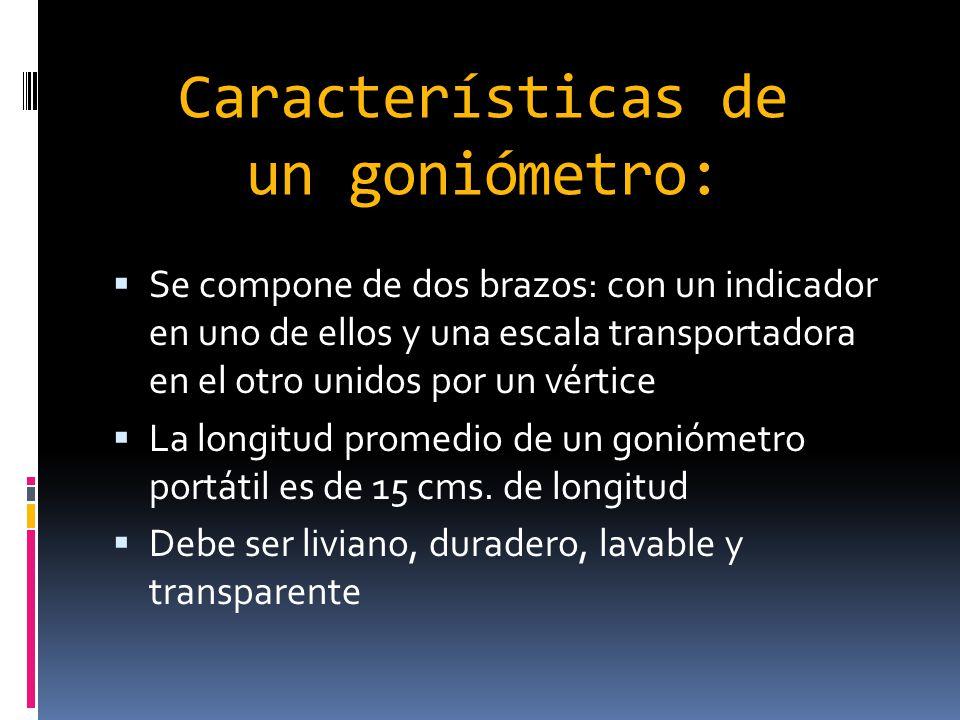 Características de un goniómetro: