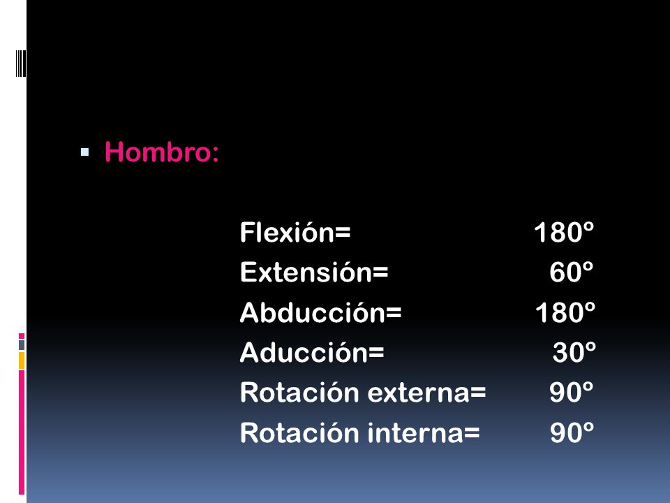 Hombro: Flexión= 180º. Extensión= 60º. Abducción= 180º.