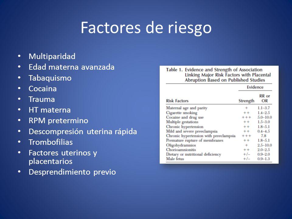 Factores de riesgo Multiparidad Edad materna avanzada Tabaquismo