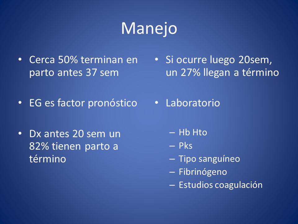 Manejo Cerca 50% terminan en parto antes 37 sem