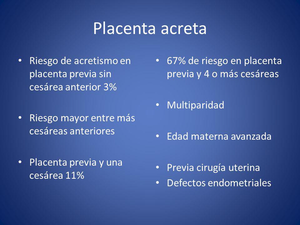 Placenta acreta Riesgo de acretismo en placenta previa sin cesárea anterior 3% Riesgo mayor entre más cesáreas anteriores.
