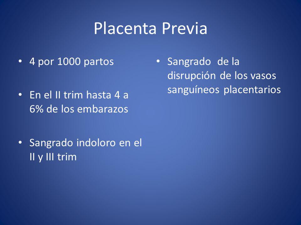 Placenta Previa 4 por 1000 partos