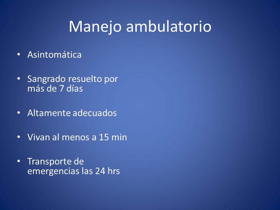 Manejo ambulatorio Asintomática Sangrado resuelto por más de 7 días