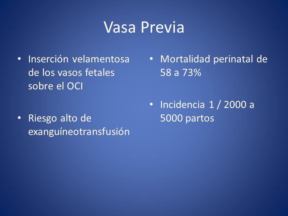 Vasa Previa Inserción velamentosa de los vasos fetales sobre el OCI