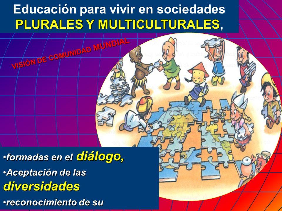 Educación para vivir en sociedades PLURALES Y MULTICULTURALES,