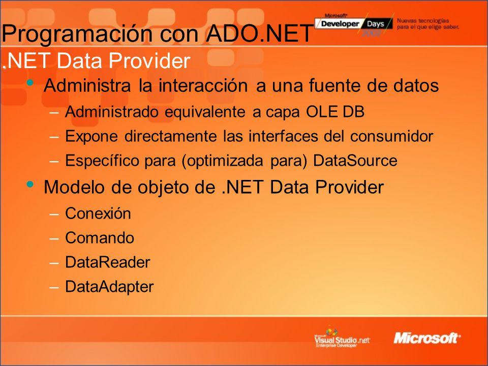 Programación con ADO.NET .NET Data Provider