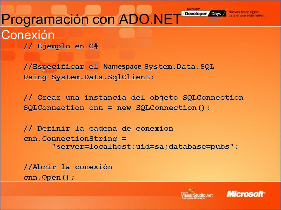 Programación con ADO.NET Conexión