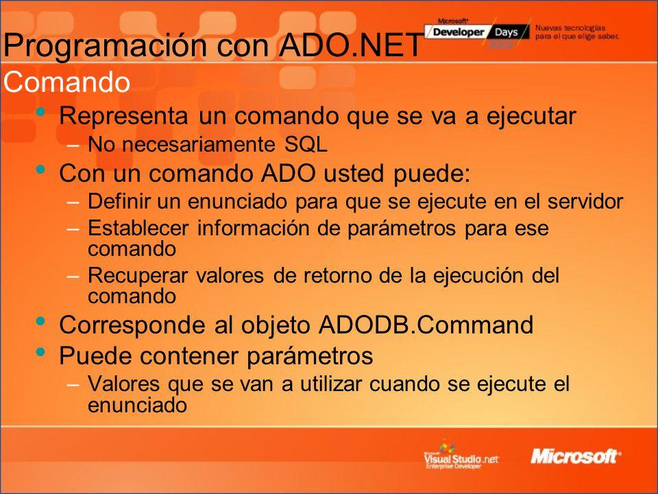 Programación con ADO.NET Comando