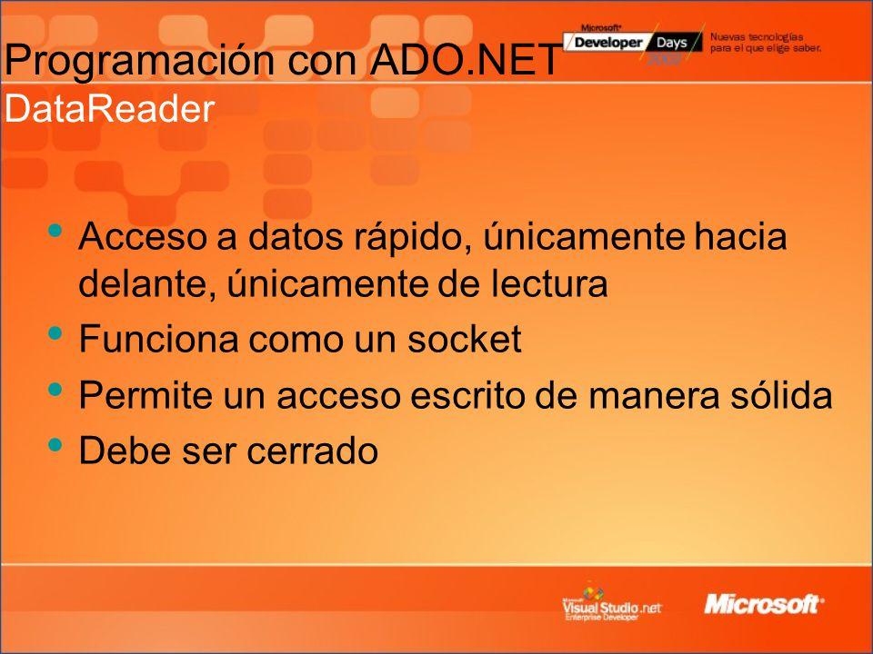 Programación con ADO.NET DataReader