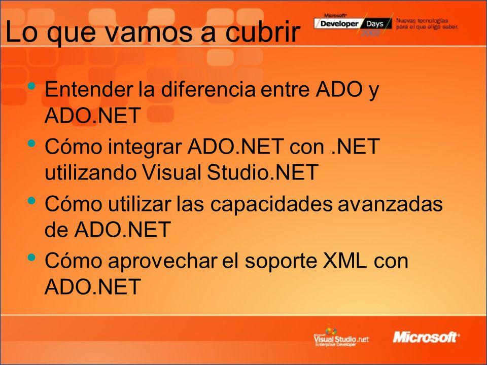 Lo que vamos a cubrir Entender la diferencia entre ADO y ADO.NET