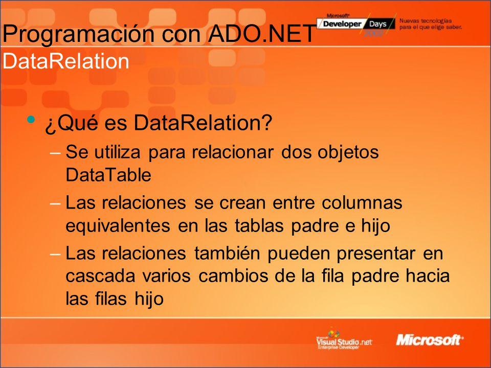 Programación con ADO.NET DataRelation